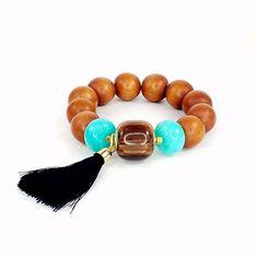 Tassel Bracelet, Statement Bracelet, Wood Bracelet, Boho Bracelet, Bohemian, Brown, Chunky Bracelet, Big Bracelet, Beaded Bracelet, Stretch by Pilboxx on Etsy