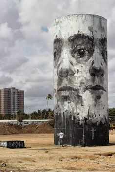 Street art at the beach in Fortaleza, Brazil, by Spanish street artist Borondo. #borondo http://www.widewalls.ch/artist/borondo/