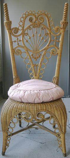 "Victorian Heywood Bros. Wicker Chair ""Manufactured By Heywood Bros of Gardner, Mass."""