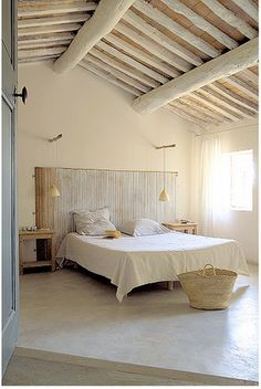 white washed beams