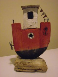Handmade Driftwood Boat MR1 by 50thParallel on Etsy
