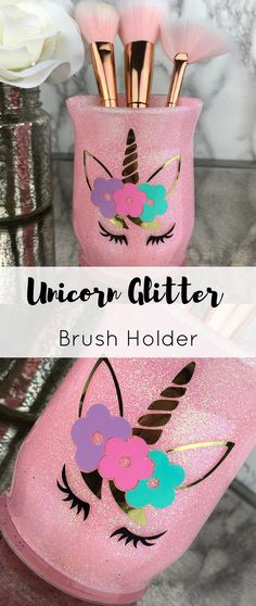Unicorn makeup brush holder, Makeup brush organizer, Vanity decor, Makeup decor, Glitter brush holder, Gift for her #makeup #makeupartist #unicorn #vanity #bedroomdecor #bedroom #giftsforher #etsy #etsyshop #ad