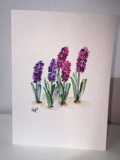 Hyacinths Watercolor Card / Hand Painted Card by gardenblooms