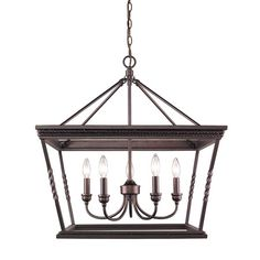 Featuring a candelabra design and stylish openwork frame, this chandelier offers transitional appeal to your dining room or entryway.  ...