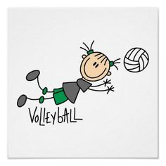 Stick Figure Girls Volleyball