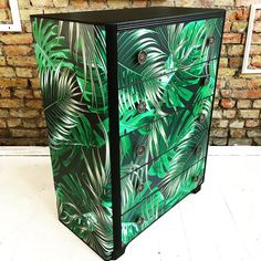 Tropical dark palms Decoupage chest of drawers