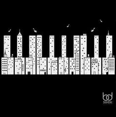 piano keys / city buildings