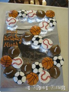 Sports themed cupcakes in the shape of child's age