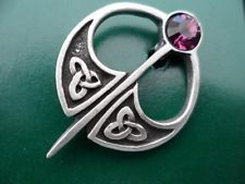 Celtic Kilt Pin style Amethyst coloured jewelled Pewter Brooch