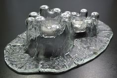 'Castello' cast crystal candle holder designed by Hannu Kalliola, intended to resemble a pool of natural ice. Holds two votive candles, in like new condition, with Muurla, Finland seal attached. Votive Candle Holders, Votive Candles, Mid Century Modern Design, Punch Bowls, Finland, Crystals, Antiques, Glass, Handmade