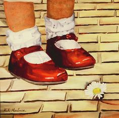 Child Painting - Les Petits Souliers Rouges by Nicole MARBAISE