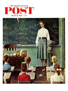 """""""Happy Birthday, Miss Jones"""" Saturday Evening Post Cover, March 17,1956 Giclee Print at AllPosters.com"""