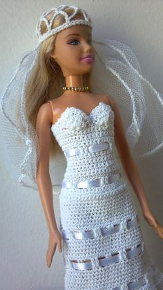 Wedding Dress for Barbie Doll by MomDaughterCraft on Etsy, €11.00