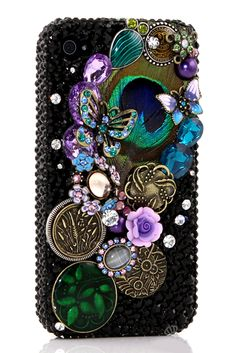 Awesome Peacock Feather Design bling phone case Vintage DIY made for iPhone 4 4s