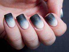 Frosted black and white Ombre nail art design. Make your Ombre style stand out by adding a frosted effect on the nail polish.