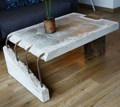 combination of old wood and concrete Concrete Table by Stephan Schmitz. Concrete Furniture, Concrete Wood, Industrial Furniture, Diy Furniture, Furniture Design, Furniture Plans, System Furniture, Industrial Coffee Tables, Broken Concrete