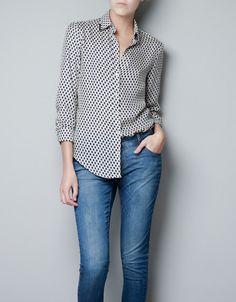 TIE PRINT BLOUSE WITH APPLIQUÉ AROUND NECKLINE - Shirts - Woman - ZARA United States
