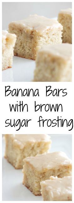 Banana bread bars with brown sugar frosting! - Delicious and simple banana bars that everyone is going to love! | www.SincerelyJean.com