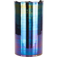 Tom Dixon Oil Vase Glass (€330) ❤ liked on Polyvore featuring home, home decor, vases, blue, tom dixon, blue home decor, hand blown glass vase, blue vase and metallic vase