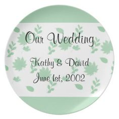 Green Leaves Wedding Plate .........  This design features green leaves with a mint green border. It's a calm and soothing design. Great for a curio cabinet or shelf to display your wedding date.... http://www.zazzle.com/green_leaves_wedding-115144135135964993?rf=238631258595245556