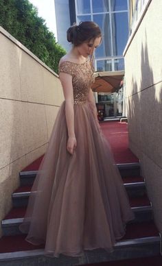 Gorgeous Beaded Cap Sleeves Brown Long Prom Dress - Thumbnail 1