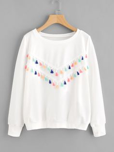 SheIn offers Colorful Fringe Trim S… Shop Colorful Fringe Trim Sweatshirt online. SheIn offers Colorful Fringe Trim Sweatshirt & more to fit your fashionable needs. Girls Fashion Clothes, Teen Fashion Outfits, Trendy Outfits, Kids Fashion, Girl Outfits, Fashion Women, Jeans Fashion, Fashion Black, Fashion Fashion