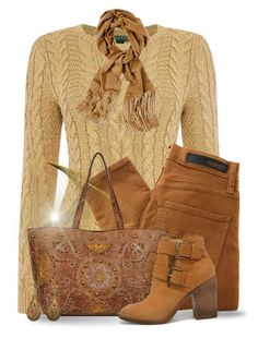 """""""Autumn Golds"""" by jackie22 ❤ liked on Polyvore featuring Lauren Ralph Lauren, Nobody Denim, Steve Madden, Chico's and Urbiana"""