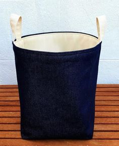 Cat laundry bag large hamper bucket bin waste denim cotton for Navy bathroom bin