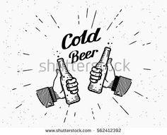 Two hands with thumbs up symbol icon of cold beer bottle. Retro fashioned illustration of friends hands holds beer bottle with handwritten lettering text on grunge background