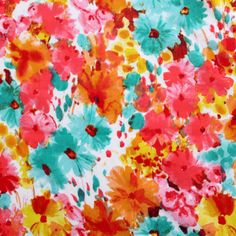 Watercolor Floral Cotton Silk Jersey Knit Fabric
