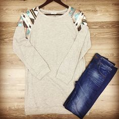 #sequin shoulder sweatshirt $35 small-large #womensfashion #fallcollection #ootd #boutique goldenonmain.com