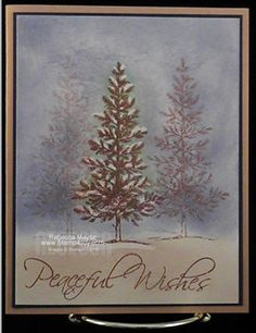 Christmas card...lovely tree in a forest with snow covered branches...crayon resist technique used for this beautiful card... Stampin' Up!