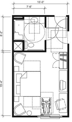 This drawing shows an accessible 13-foot wide guest room with features that comply with the 2010 Standards. Features include a standard roll-in shower with a seat, comparable vanity, wardrobe, and door connecting to adjacent guest room. Furnishings include a king bed and additional seating.