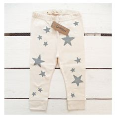 Stars handprinted organic baby leggings by OncleHope on Etsy, $25.00