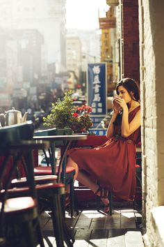 Red dress, peaceful  beautiful setting, hot beverage....lovely.