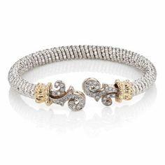 Sterling Silver & Diamond Bangle Bracelet by Alwand #Vahan
