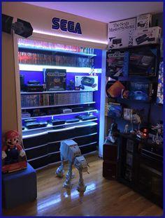 Beautiful SEGA closet/display shelves gaming shrine. Bonus Star Wars!