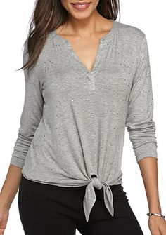 Ruby Rd Amazing Gray Solid Tie Front Detailed Knit Top