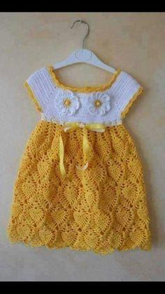 Boy Crochet Patterns, Crochet Baby Dress Pattern, Baby Dress Patterns, Crochet Dress Girl, Baby Girl Crochet, Crochet Baby Clothes, Crochet Toddler, Dress Neck Designs, Little Girl Dresses