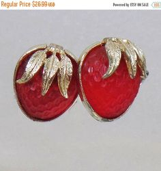 "These #vintage strawberry frosted glass earrings are just beautiful!  They features berry red frosted glass with gold tone caps.  First created in 1967, Sarah Coventry's ""St... #ecochic #etsy #jewelry #jewellery"