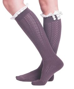 Another great find on #zulily! Eggplant Pointelle Chevron Knee-High Socks - Women #zulilyfinds