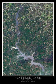 Wateree Lake South Carolina Satellite Poster Map