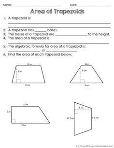 Area of Trapezoids Notes by To the Square Inch- Kate Bing Coners | Teachers Pay Teachers