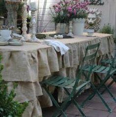 Oh @Wanda Stewart !!  Ruffled burlap tablecloth :: Hometalk