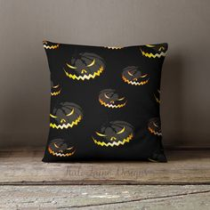Scary Pumpkin / Halloween Throw Pillow Case by KaliLaineDesigns