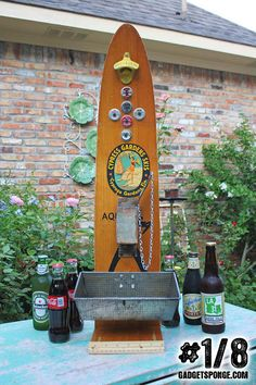 No. 1 of 8 - Vintage Wooden Water Skis Beer & Soda Coke Bottle Opener Station of Recycled Found Object Furniture on Etsy, $269.00