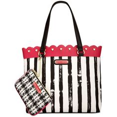 Betsey Johnson Scallop-Trim Tote with Pouch ($74) ❤ liked on Polyvore featuring bags, handbags, tote bags, fushia, tote handbags, white tote bag, betsey johnson tote bags, white handbags and handbags totes