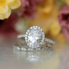 3.96CTW Oval Cut Simulated Diamond 925 Sterling Silver with Gold Engagement Wedding Ring     FREE Shipping Worldwide     http://fashjewels.de/ring-for-women-3-96ctw-oval-cut-simulated-diamond-s925-sterling-silver-with-gold-engagement-wedding-rings-art-dec-bague/