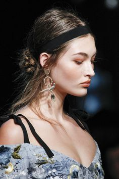 Maya Singer, Vogue.com Contributor - I loved the combo of ribbon headbands, swept-back hair, and dangling earrings at Erdem. Thinking about ways I can adapt that to real life, right away . . .