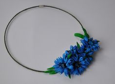 Necklace with cornflowers original accessory foamiran cornflowers blue necklaces accessory on neck at the neck flowers 35.00 USD #goriani